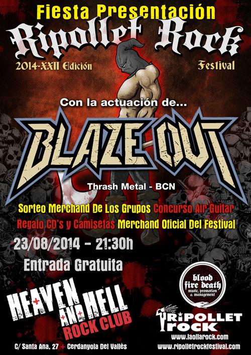Fiesta Presentación Ripollet Rock Festival 2014 con la Actuación de Blaze Out