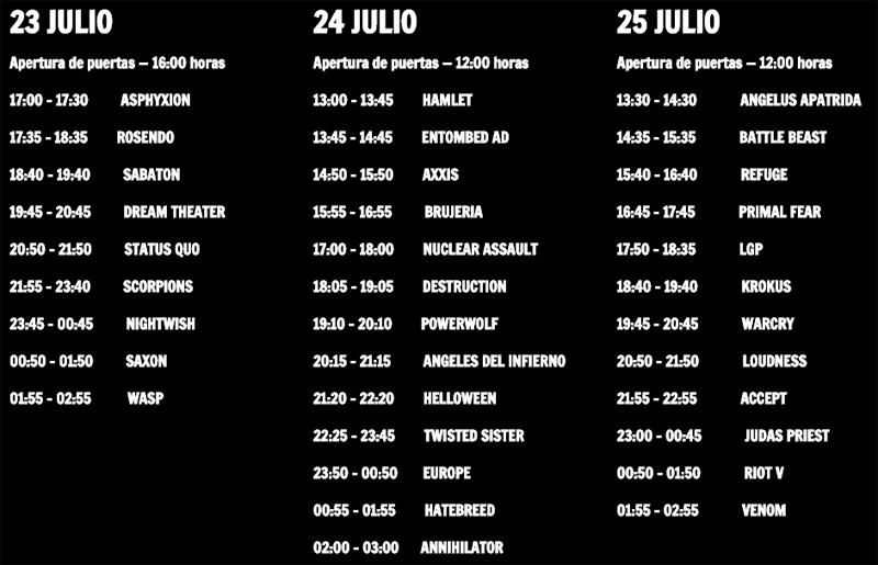 Rock Fest BCN 2015 - Horarios