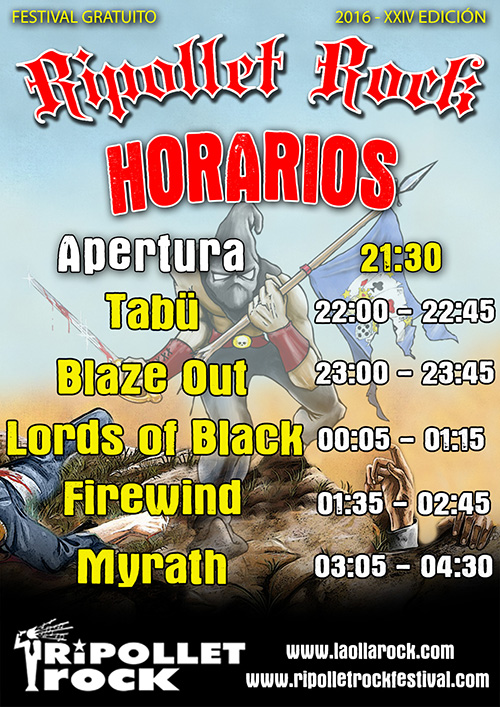 Horarios Ripollet Rock Festival 2016
